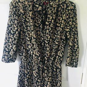 Black and Tan 3/4 Length Dress